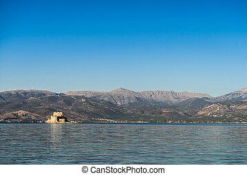Bourtzi water fortress in Nafplio Peloponnese peninsula in Greece.