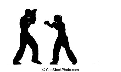 Bout the guy and the girl on the boxing paws . Silhouette....