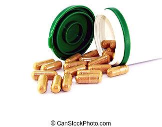 bouteille, à, diffusion, pilules