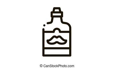 bouteille, étiquette, moustache, icône, animation