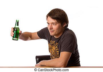 Photo homme biere