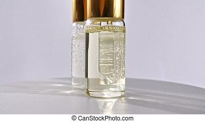 bouteille, blanc, huile essentielle, cosmétique, pipette, fond