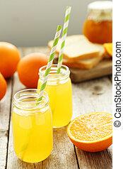 bouteille, bois, gris, jus, fond, orange
