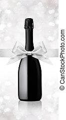 bouteille, cadeau, ruban, vin