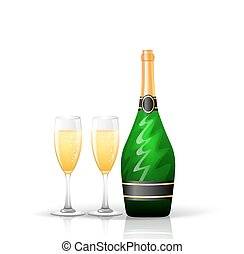 bouteille champagne, lunettes