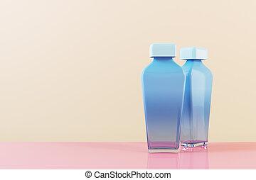 bouteille, deux, verre, parfumerie, bleu