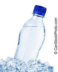 bouteille eau, dans, glace