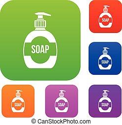 bouteille, ensemble, collection, liquide, savon