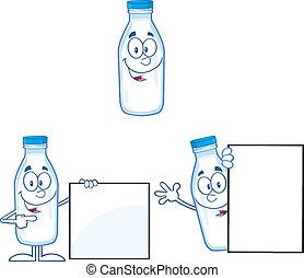 bouteille, ensemble, lait, collection, 3.