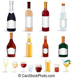 bouteille, icônes
