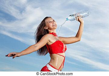 bouteille, jeune, eau, femme, girl, sport