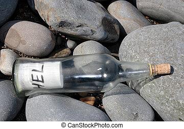 bouteille, lapidé