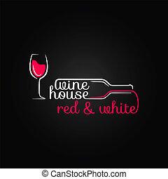 bouteille, maison, verre, conception, fond, vin