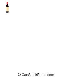 bouteille, plat, vin, icône, style