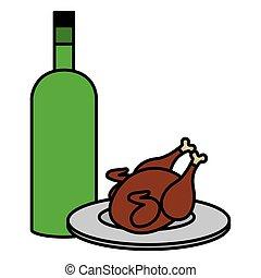 bouteille, poulet, viande, délicieux, vin