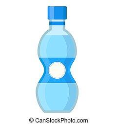 bouteille, style, vecteur, illustration, eau claire, plat, dessin animé, stockage, blanc