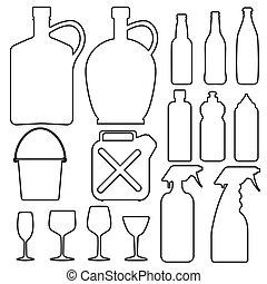 bouteille, tasse, collection, ligne, verre