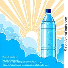 bouteille, texte, illustration, eau, conception, sunlight.vector, fond