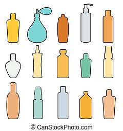 bouteille, vecteur, ensemble, griffonnage, illustration