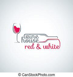 bouteille verre, fond, vin