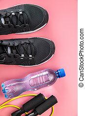 bouteille, water., sport, saut, noir, chaussures, corde