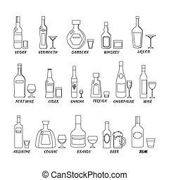 bouteilles, alcool, icônes, collection, vecteur, ligne, style., illustration.