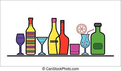 bouteilles, alcool, lunettes