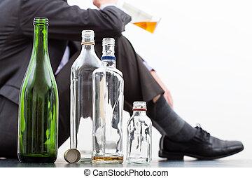 bouteilles, alcool, vide
