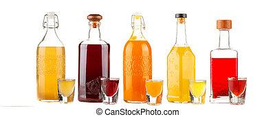 bouteilles, assorti, alcoolique, isolé, produits, white., composition