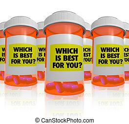 bouteilles, beaucoup, -, médecine, prescription, mieux