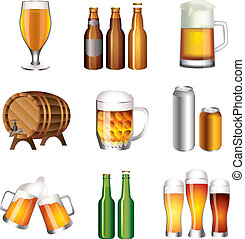 bouteilles bière, et, tasses, vecteur, ensemble