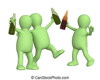 bouteilles bière, gai, amis
