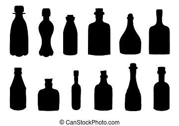 bouteilles, croquis, vecteur, ensemble