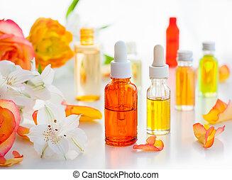 bouteilles, essentiel, huiles aromatiques