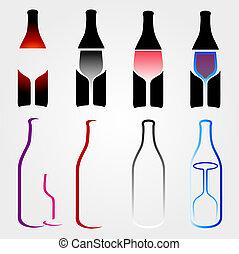 bouteilles, glasses-, esprits