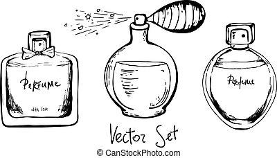bouteilles, isolé, noir, dessin, croquis, remettre ensemble, style, vecteur, illustration., arrière-plan., blanc, parfum