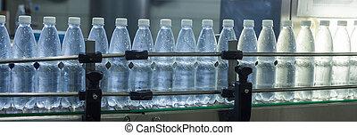 bouteilles, minéral, lignes, eau, cru, closeup