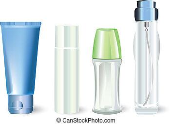 bouteilles, produits, cosmétique