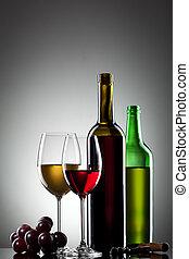bouteilles, raisin, vin blanc, rouges, lunettes