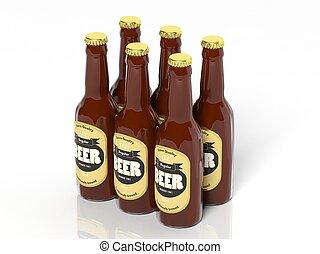 bouteilles, six, isolé, collection, verre, bière, blanc, meute, 3d