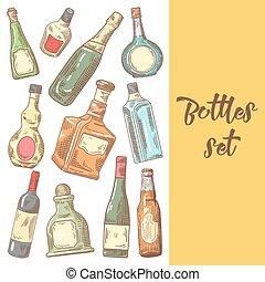 bouteilles, sketch., menu, illustration, main, cognac, vecteur, bouteille, vin, dessiné, design.