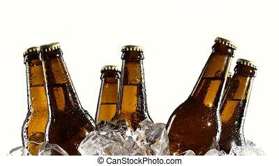 bouteilles, stands, ivre, haut, ice., sombre, arrière-plan., bière, fin, blanc