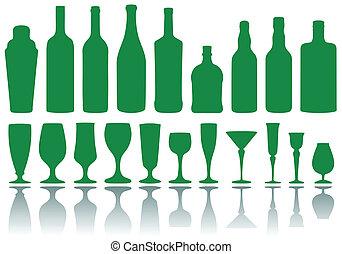 bouteilles, vecteur, lunettes