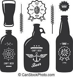 bouteilles, vendange, signe, bière, métier, étiquette, brasserie