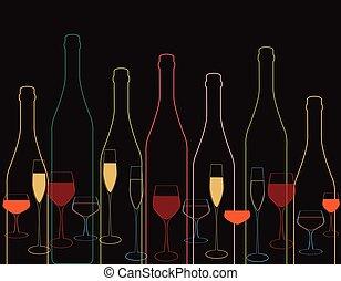 bouteilles, verre vin, bouteille