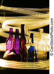 bouteilles, vide, nuit