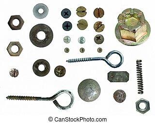 bouten, nootjes, oud, schroef, staal, hoofden