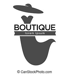 Boutique fashion logotype with dress and hat on white
