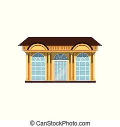 boutique, illustration, vecteur, façade, showcases, magasin