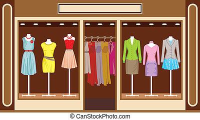 boutique., kvinnors klädsel, butik